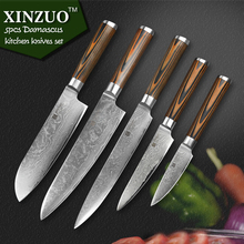 XINZUO 5pcs kitchen knife set 73 layer Japanese VG10 Damascus kitchen knife cleaver chef utility knife wood handle free shipping