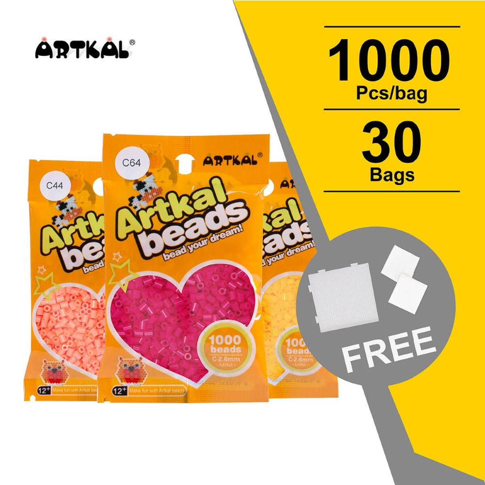 30,000 Pcs Artkal Melty Beads C-2.6mm Mini Beads DIY Jewerly Set Funny Perler Beads Educational Toys For Kids CB1000-30