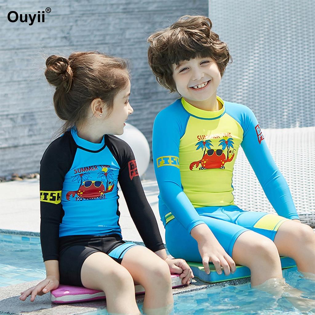2331ead63d Detail Feedback Questions about Children s Swimwear 2018 Rashguards Two  Piece Swimwear Cute Cartoon Bathing Suit Kids Sunscreen Suit Diving Suit  Anti UV ...