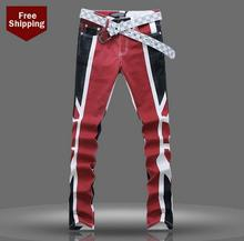 HOT ! Autumn national flag printed jeans men denim trousers male personalized luxury brand modern urban casual elastic pants