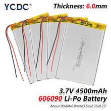 1/2/4 Pcs 3.7V 606090 4500mAh Rechargeable Lipo Battery Tablet Dvd Camera GPS Electric Toys Laptop Lithium Polymer Batteries safetypacking level4 5pcs rechargeable lipo battery cell 3 7 v 8873130 10000 mah tablet battery brand tablet gm lithium polymer