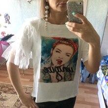 Летняя женская футболка, новинка, плюс размер, кружевной короткий рукав-бабочка, принт, хлопок, смешной бисер, женская футболка