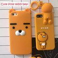 Lovely Cartoon Ryan Lion bear back cover cases for iphone 5s 7 7plus 6 6S plus soft Silicone phone case For iphone7 Ring pendant