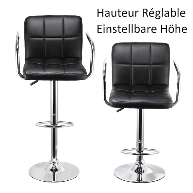 Adjustable Height Chairs Stackable Banquet Jeobest 2pcs Synthetic Swivel Bar Stools Stainless Steel With Footrest Barstool Chair De Fr Stock Hwc