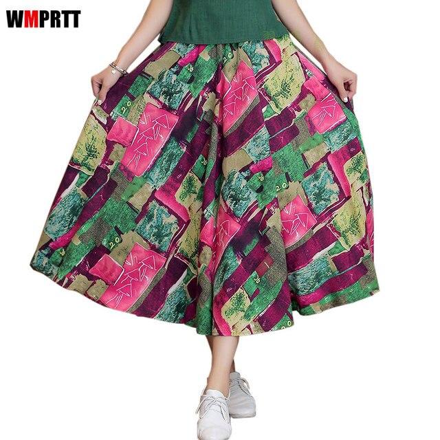 Wmprtt Новинка 2017 женские свободные льняные хлопок половина юбка богемной печати высокая талия длинная юбка модные повседневные женские 80 см юбка 8 видов цветов