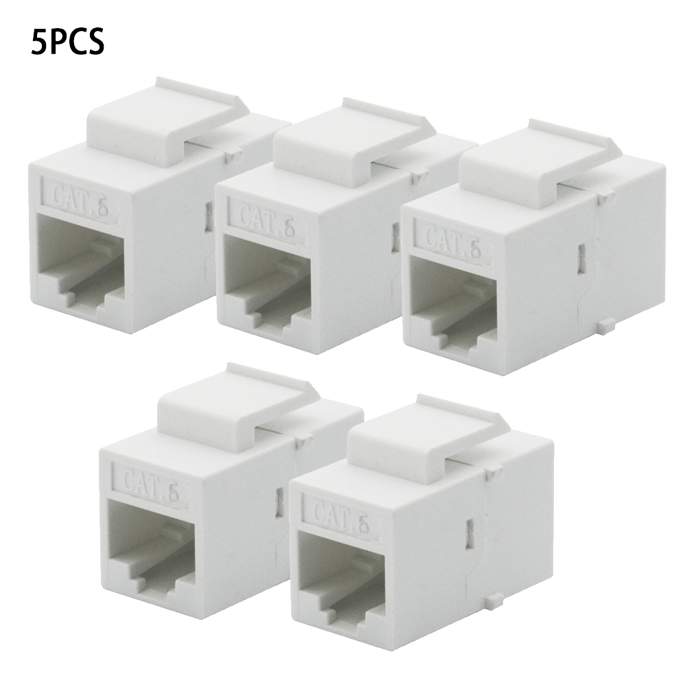 8x Cat6 RJ-45 F//F Ethernet Coupler Joiner Snap-In Jack Keystone Wall Plate White