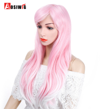 AOSIWIG Fluffy Long Wavy Pink Synthetic Hair Wig Partial Bangs  Heat Resistant Fiber Cosplay Party Wig long fluffy wavy oblique bang synthetic lolita wig