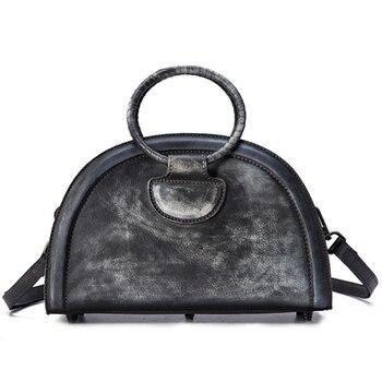 Genuine Leather Top Handle Bags Vintage Tote Handbag Purse Natural Skin Brush Color Women CrossBody Messenger Shoulder Hobo Bag