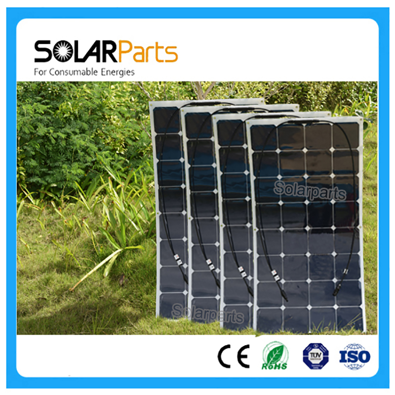 Solarparts 4x 100W flexible solar panel 12V high efficiency solar cell yacht boat marine RV solar module battery charge cheap 200w 2x100w mono flexible solar panel solar module energy roof camper rv yacht solar generators