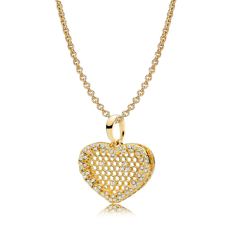 2018 New Bee Series Real 100% 925 Silver Gold SHINE HONEYCOMB LACE Heart Pendant NECKLACE For Women Charm NECKLACE Fine jewelry hot sale new collection good quality luxuxious shine 925 real silver honeycomb lace ring