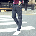 New arrival top quality male cotton linen dotted pencil pants youth men slim fit fashion casual trousers