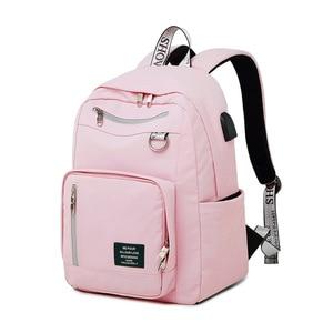 Image 2 - 受賞新ソリッドカラー印刷usb充電バックパック女性抗盗難旅行bagpackノートパソコンスクールバックパック十代の少女