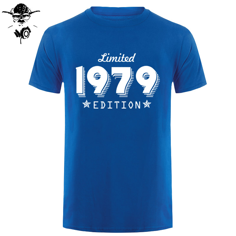 Edition 1979 Birthday Age Trend Limited Present Short Sleeve O-Neck   T     Shirts   For Men Born 40Th Year Short Sleeve