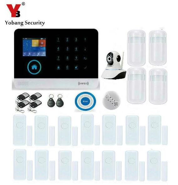 Yobang Security-APP Control IP Camera WIFI GSM Alarm System RFID Home Security Metal Remote Control Wireless Blue Flash Siren fuers wireless metallic remote control keychain for wireless alarm system security system alarm camera