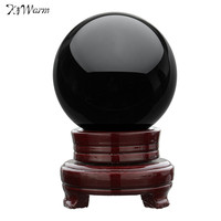 Kiwarm 4 Natural Black Obsidian Sphere Large Crystal Ball Healing Stone With Wood Stand For Home