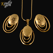 Fashion Laser Pattern Jewelry Sets Necklace Earrings Pendant African Pure Gold Color Trendy Jewelry for Women Party Daily Life