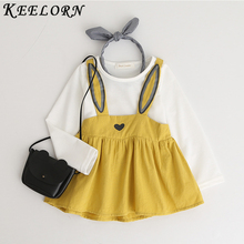 Keelorn Baby Girl Dress 2019 Autumn New Baby girls clothes Solid color T-shirt + flower print dress O-neck children clothing