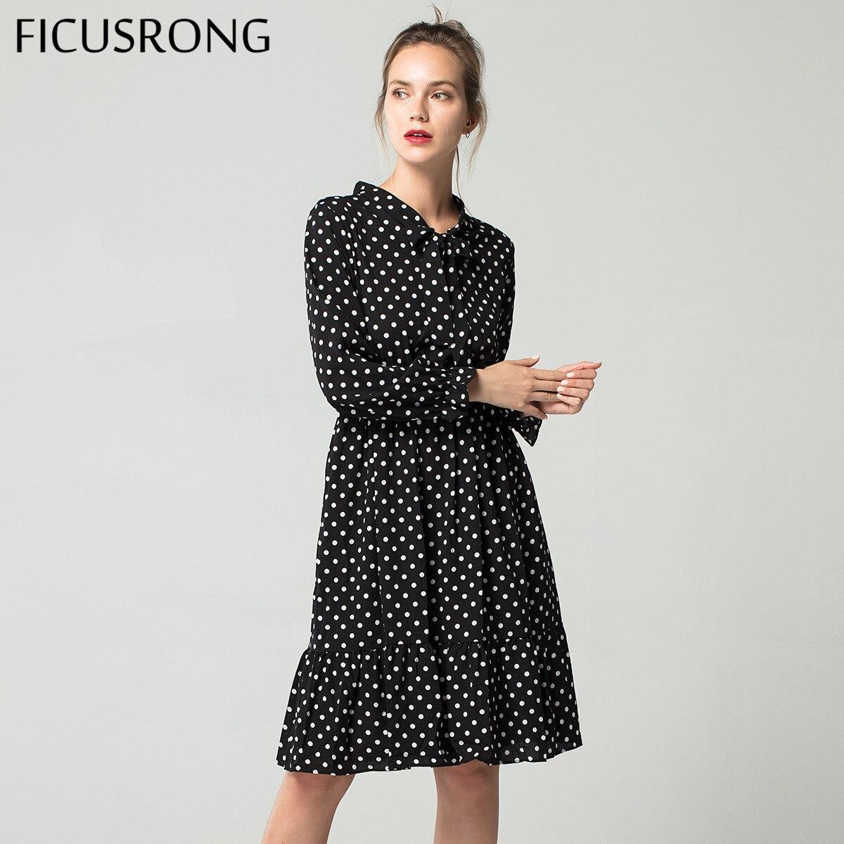 0ddf9eb6c30 Купить товар Осень 2019 г. шифоновая рубашка платья для женщин офисные в горошек  Винтаж платье