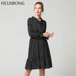Осень 2019 г. шифоновая рубашка платья для женщин офисные в горошек Винтаж платье для женщин Весенняя с длинными рукавами миди платье с