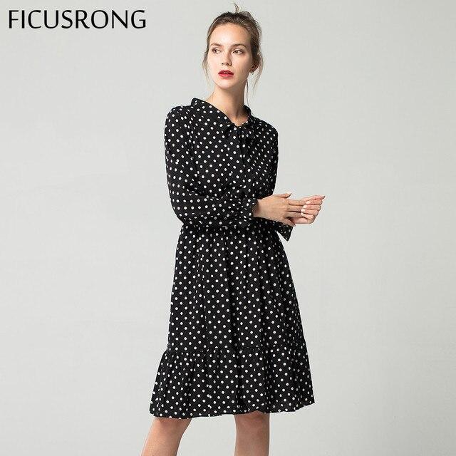 29 цветов модные Демисезонный Новый Для женщин платье с длинными рукавами в стиле ретро воротник Повседневное Тонкий платья из шифона с цветочным принтом FICUSRONG