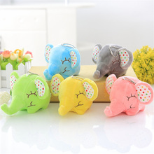 Cute Baby Soft Soothing Long Nose Elephant Key Pendant Color Plush Stuffed Toy Doll Child Birthday Gift Ornament
