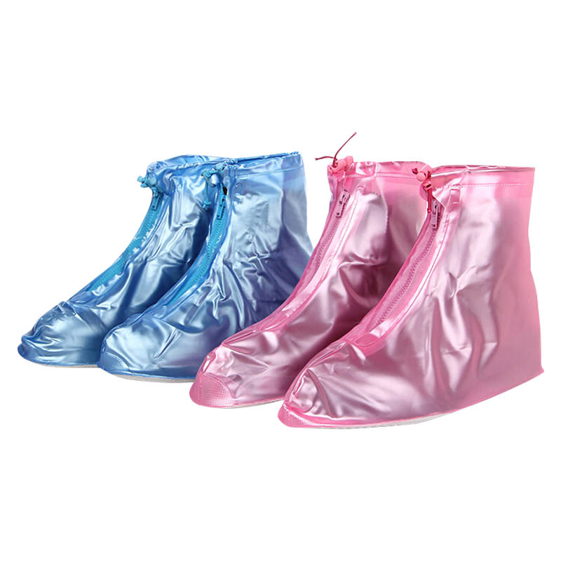 Men Women Rain Waterproof PVC Boots Heels Shoes Covers Thicker Non-slip Shoes Zipper Cover ALS88