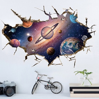 Simanfei Space Galaxy Planets Wall Sticker 2019 Waterproof Vinyl Art Mural Decal Universe Star Wall Paper Kids Room Decorate 1