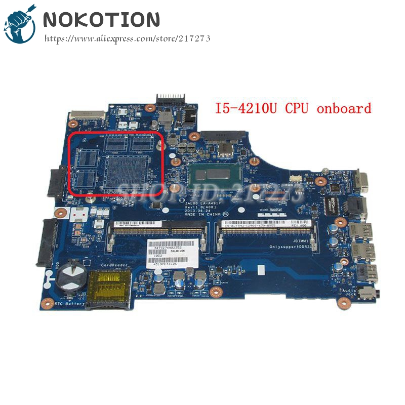 NOKOTION ZAL00 LA-A491P CN-0JTTMW 0JTTMW MAIN BOARD For <font><b>Dell</b></font> Latitude <font><b>3540</b></font> Laptop Motherboard SR1EF I5-4210U DDR3L UMA image