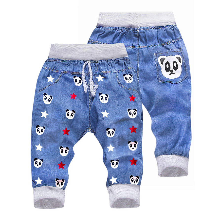 Jeans Pants Trousers Cropped Panda-Pattern Baby-Boy-Girl Kids Children Denim Calf-Length