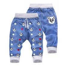 Детские штаны с эластичной резинкой на талии и рисунком панды для маленьких мальчиков и девочек укороченные брюки укороченные штаны джинсовая одежда