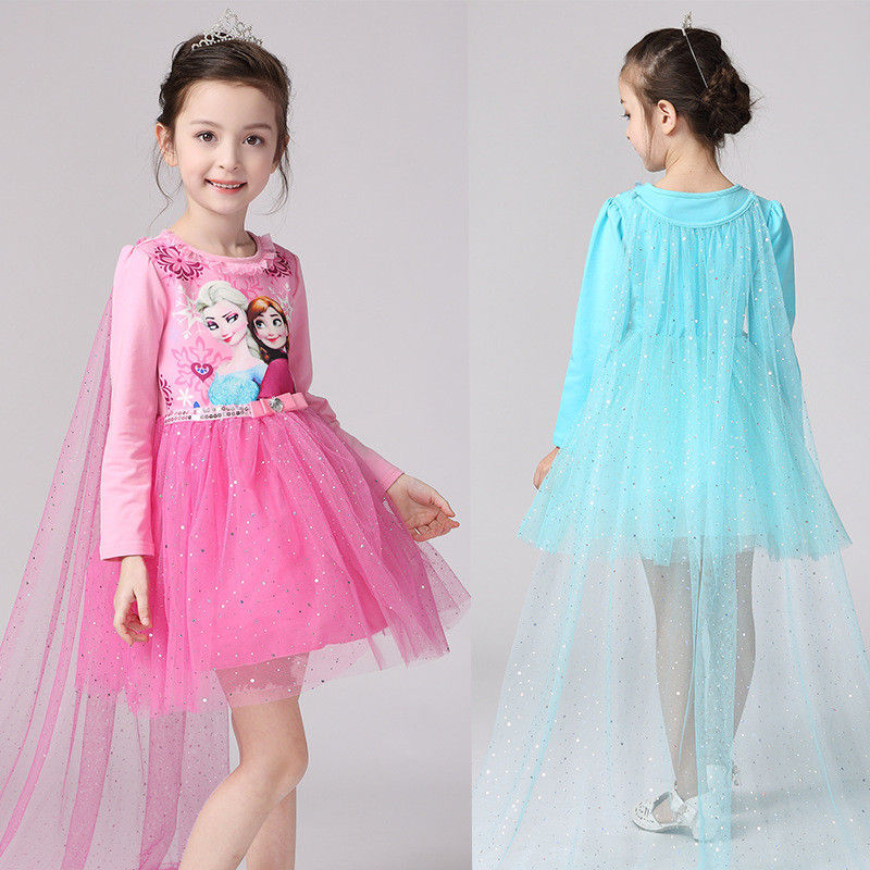 Free shipping Frozen series princess long sleeve girl's 100% cotton lining cosplay dress with long cloak JQ-617
