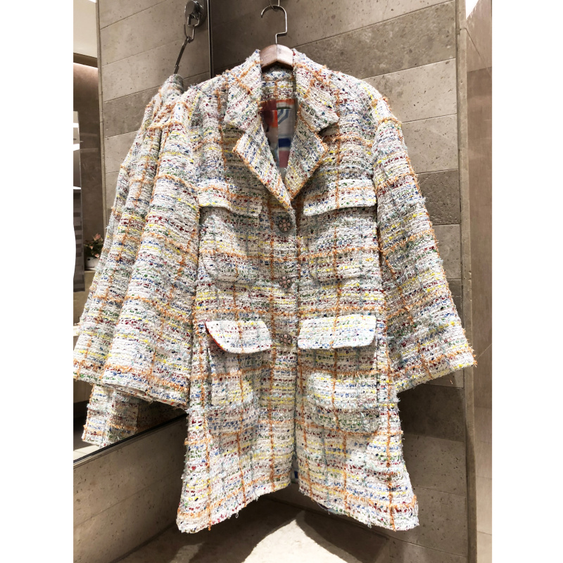 2019 women s jacket autumn winter coat high quality Dropped shoulder loose plaid silhouette coat color
