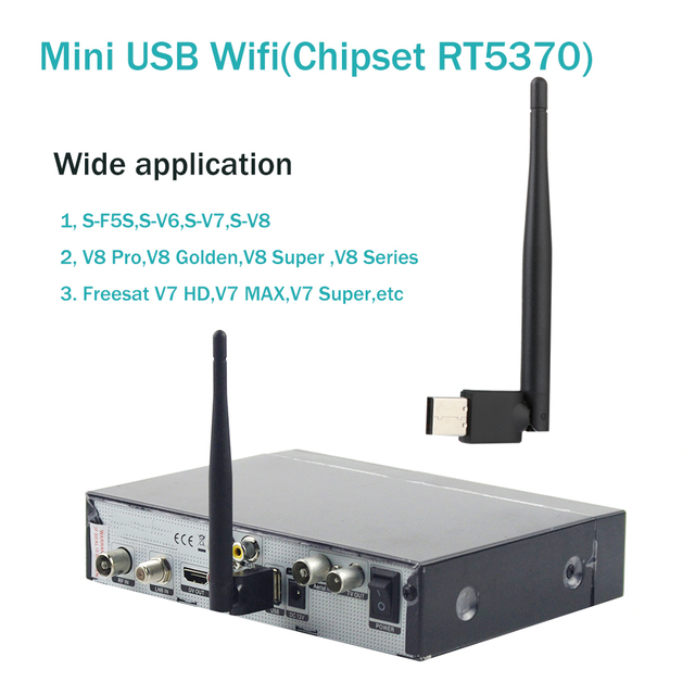Wireless Mini USB RT5370 Wifi with Antenna LAN Adapter for v8 super Receiver ,V7 HD ,V7 Combo,V8 Super,V8 Golden Receiver