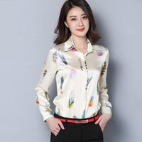 2018 new fashion women's spring and autumn silk shirts blouses ladies long sleeve slim printing office shirt silk blouse female
