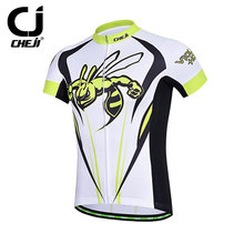 CHEJI Cycling Jerseys MTB Clothes Wear Short Sleeve Hornet Bicycle Bike Shirts Cycling Jackets Men Yellow And White
