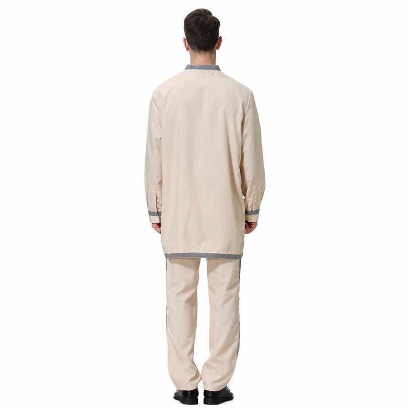 Ropa informal musulmana para hombre conjunto de 2 piezas Tops y pantalones Arabia Saudita Pakistán Arabe muselman 2019 ropa islámica camisa Pantalones