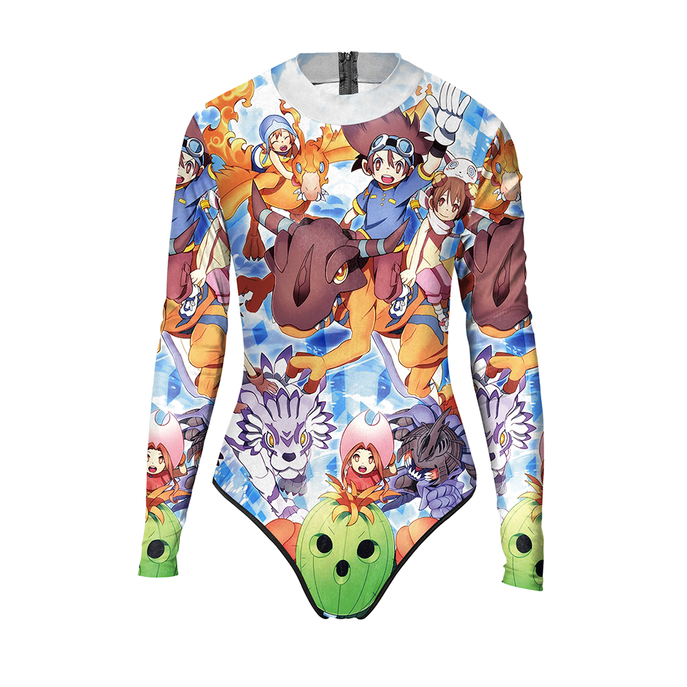 New 045 Sexy Girl Summer Pikachu Pokemon Prints Zip Long Sleeve One Piece Swimsuit Monokini Women Swimwear Bathing Suit new 047 girl adventure time princess bubblegum prints zip long sleeve one piece swimsuit monokini women swimwear bathing suit