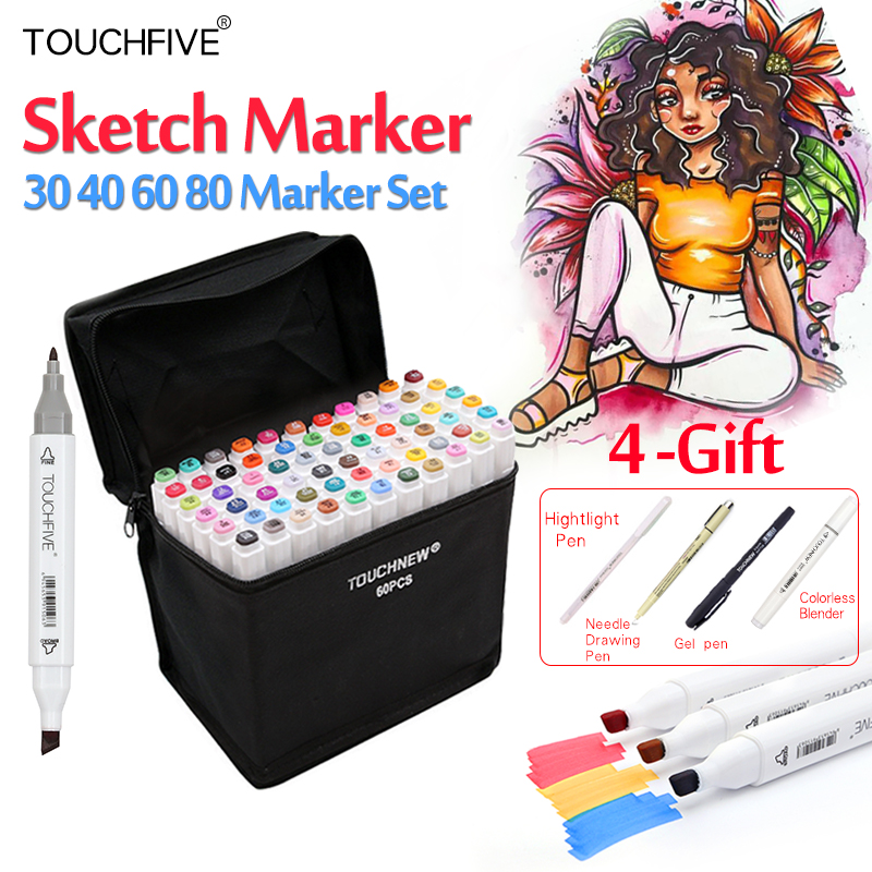 Touchfive 30/40/60/80Colors Art Markers Set Dual Head Alcohol Sketch Copic Markers Pen For Manga Drawing Markers Design Supplies