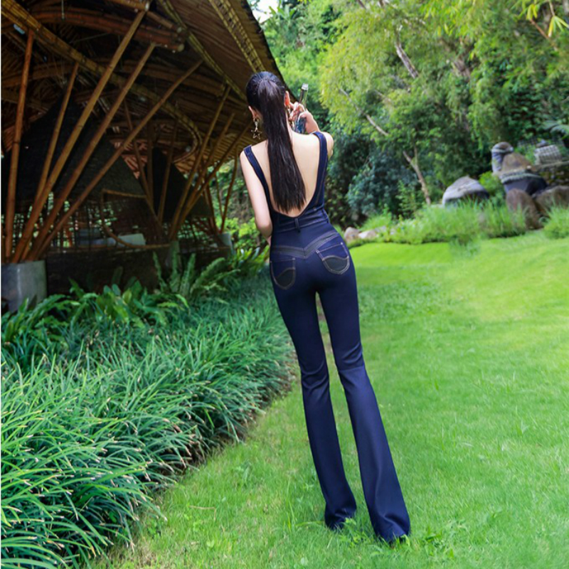 2019 new summer and autumn Fashion casual sexy skinny high waist expensive brand female women girls jeans jumpsuits 79150