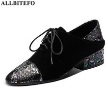ALLBITEFO リアル本革の女性のかかと水ドリル装飾ハイヒールの靴春の秋のレディースセクシーなハイヒールのファッション