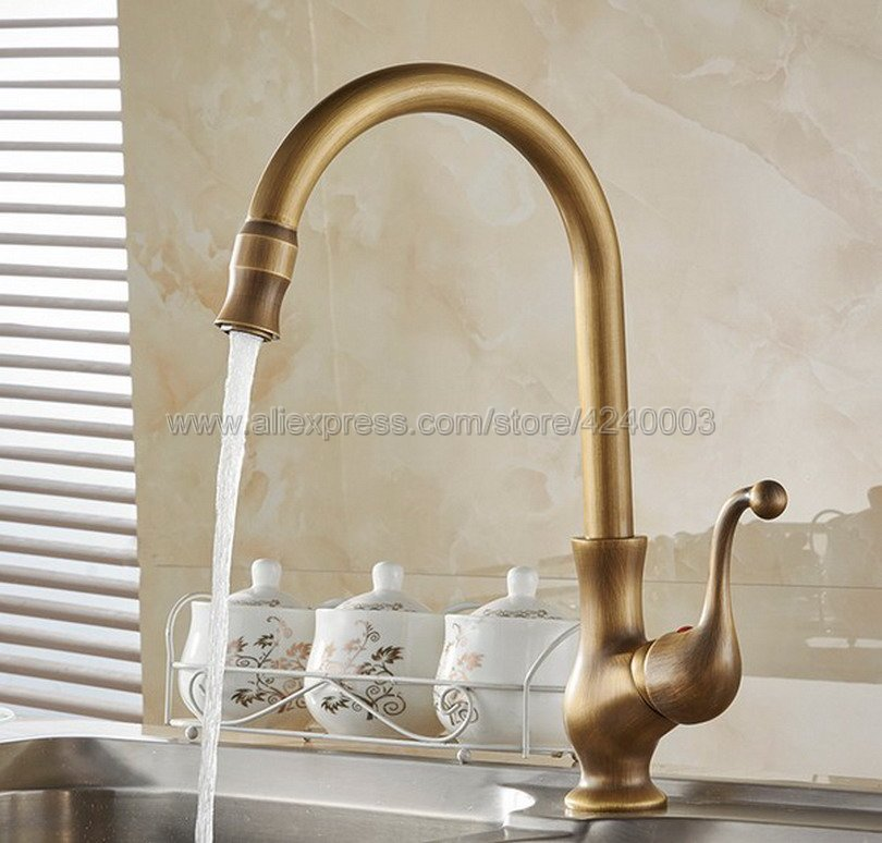 все цены на Kitchen Faucets Cold Water And Hot Water Antique Brass Kitchen Sink Faucet Single Handle Deck Mounted Mixer Taps Ksf110