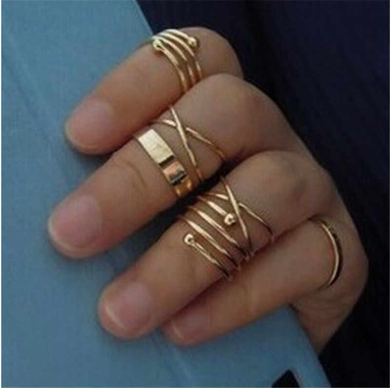 6 PCS Gold Punk Knuckle Rings For Women Finger Ring Set Girls Unique Anti-allergy Spring Rings Set Bohemian Birthday Gift