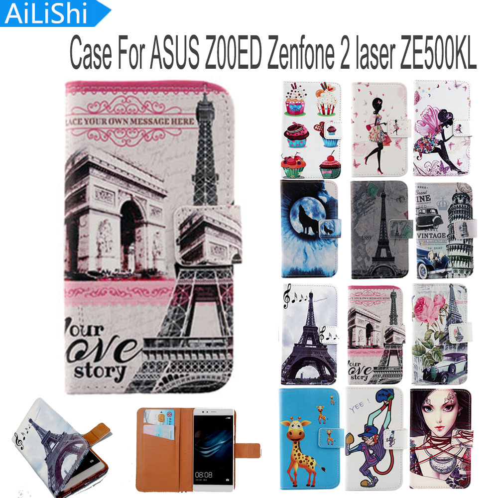AiLiShi Flip PU Leather Case For <font><b>ASUS</b></font> <font><b>Z00ED</b></font> Zenfone 2 laser ZE500KL Case Hot Sale Cartoon Painted Protective Cover Skin In Stock image
