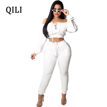 цены QILI Autumn Women Jumpsuits Romper Long Sleeve Lace Up Skinny Long Pants Jumpsuit Two Piece Set Sexy Off The Shoulder Jumpsuits
