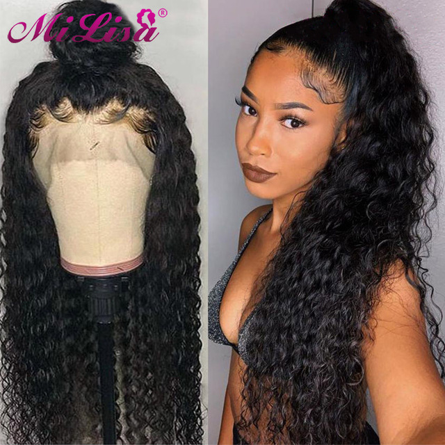 150 Density Peruvian Water Wave Lace Front Human Hair Wigs Front Lace Wigs With Baby Hair Pre Plucked Natural Hairline 150% Remy