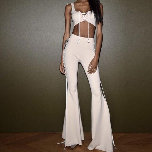 EXCELLENT QUALITY New Fashion 2017 Designer Party Suit Set Women's Lacing-Up Camis Tops Flare Pants Suit Set