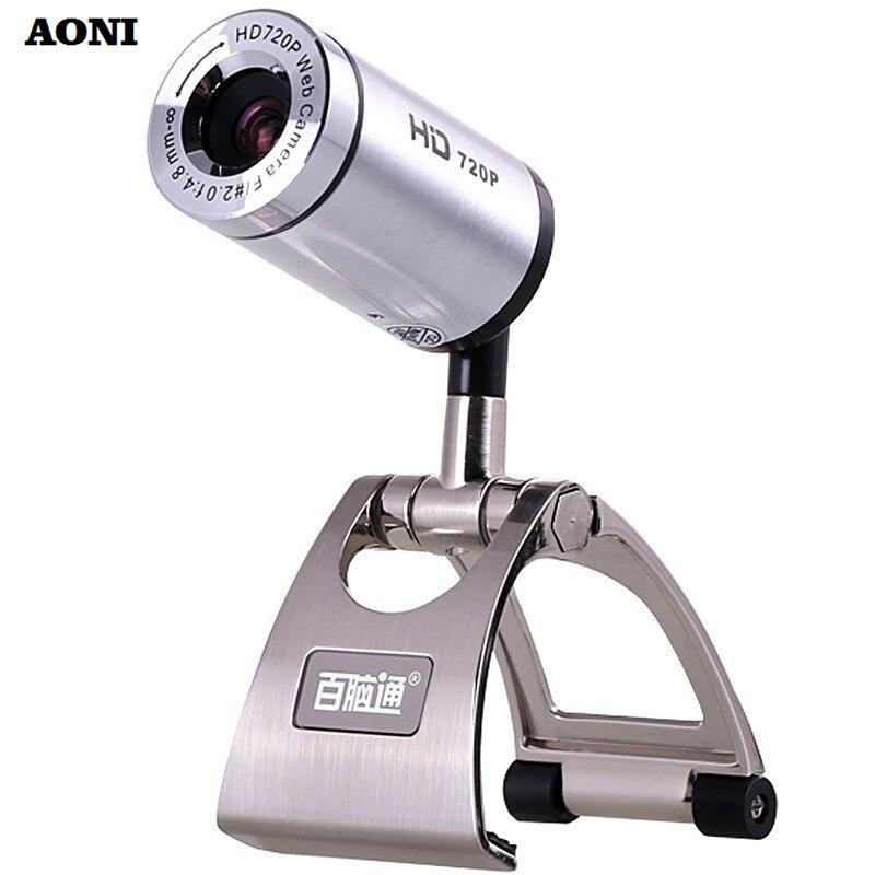 Aoni веб-Высокое разрешение 720 P Веб-камеры 1280*720 настольный компьютер веб-Камера с звукопоглощения микрофон для android ТВ PC