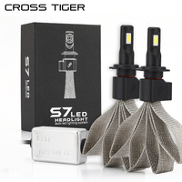 CROSS TIGER S7 Car LED Headlight Braid Radiating 8000LM 6000K Lamp Auto Bulb Light H1 H3