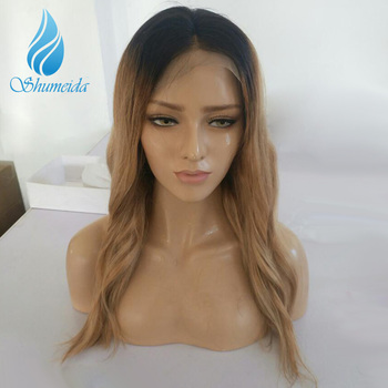 SHUMEIDA Blonde Ombre Wig Pre Plucekd Full Lace Human Hair Wigs With Baby Hair Bleached Knots Brazilian Body Wave Wig Remy Hair