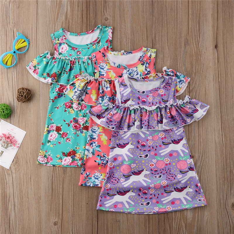 Floral Toddler Kids Baby Girls Princess Dress Cold Shoulder Floral Girl Clothing Cotton Cute Pageant Party Tutu Dress Clothes cute newborn toddler kids baby girl summer dress sleeveless princess tutu ruffles romper one pieces floral sundress clothes